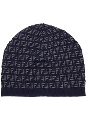 Fendi Navy Logo Knit Wool Beanie