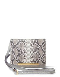 Brian Atwood Sadie Snake Embossed Leather Crossbody Taupe