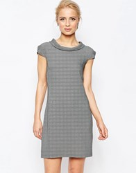 Closet London Houndstooth Shift Dress Black White