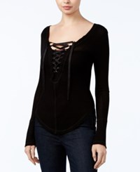 William Rast Supernova Lace Up Top Black