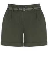 Oasis Casual Belted Short Khaki