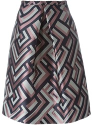 'S Max Mara Geometric Pattern Skirt Blue