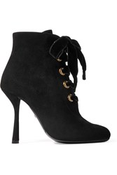Lanvin Lace Up Suede Ankle Boots Black