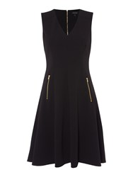 Episode Sleeveless Fit And Flate Dress With Zips Black