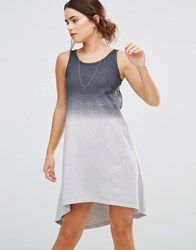 Uncivilised Waterfall High Lo Dress Charcoal Ombre Grey