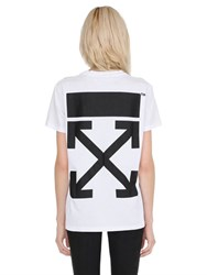 Off White Arrow Print Cotton Jersey T Shirt