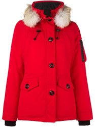 Canada Goose Buttoned Parka Coat Red