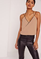 Missguided Contrast Wrap Cami Top Nude Beige