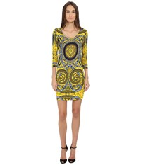 Versace Long Sleeve Placed Printed Scoop Neck Dress
