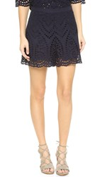 Zimmermann Harlequin Broderie Flare Shorts French Navy