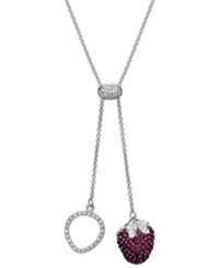 Sis By Simone I Smith Platinum Over Sterling Silver Necklace Pink Crystal Strawberry Drop Pendant