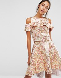 Chi Chi London Off Shoulder Crop Top Co Ord In Rosegold Jacquard Rose Gold