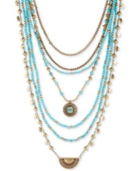 Lucky Brand Gold Tone And Blue Stone Multi Layer Statement Necklace
