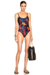 We Are Handsome String Scoop Swimsuit In Blue Floral Orange