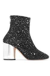 Maison Martin Margiela Metallic Leather Trimmed Glittered Canvas Ankle Boots Black