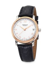 Montblanc Tradition 18K Rose Goldplated Stainless Steel Alligator Strap Watch Black Rose Gold