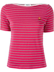 Sonia By Sonia Rykiel Striped Boat Neck T Shirt Pink And Purple