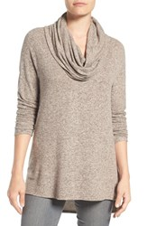 Gibson Women's Cowl Neck High Low Fleece Tunic Blush Heather Grey