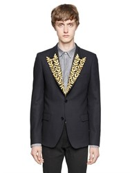 Lords And Fools Embroidered Lapels Wool Crepe Jacket