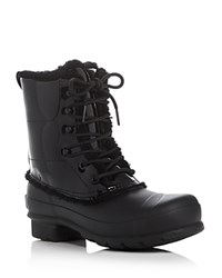 Hunter Original Patent Leather Lace Up Shearling Lined Rain Boots Black