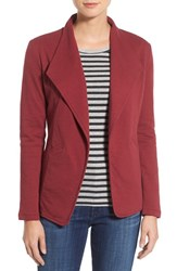 Caslonr Petite Women's Caslon Cotton Knit Open Front Blazer Red Black Pattern
