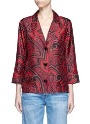F.R.S For Restless Sleepers 'Era' Paisley Print Silk Pyjama Shirt Red