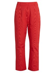 Isa Arfen High Rise Faille Cropped Trousers Red