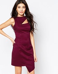 Liquorish Asymmetric Dress With Cut Out Detail In Jacquard Wine Red