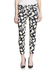 7 For All Mankind Cropped Floral Print Skinny Jeans Black Floral