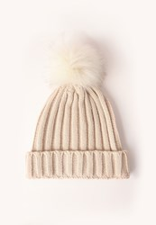 Missguided Faux Fur Pom Pom Beanie Hat Cream