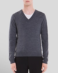 Sandro V Neck Merino Wool Sweater Charcoal Grey