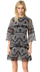 Alexis Karina Dress Black White Embroidery
