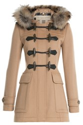 Burberry Brit Blackwell Wool Duffle Coat With Fur Camel