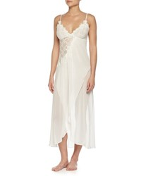 Jonquil Embroidered Mesh Lace Long Gown Ivory
