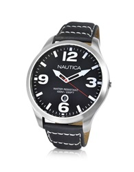 Nautica Bfd 101 Black Leather Date Watch