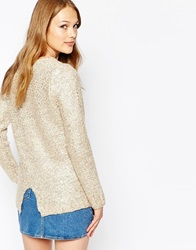 Jovonna Split Back Metallic Jumper Creamgold