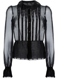 Dolce And Gabbana Bib Front Sheer Shirt Black