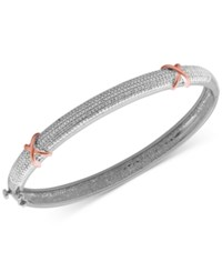 Macy's Diamond Accent X Bangle Bracelet In Silver Plated Bronze And 18K Rose Gold Over Silver Plated Bronze