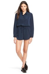 One Clothing Long Sleeve Button Front Romper Blue