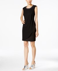 Connected Embellished Cap Sleeve Sheath Dress Black