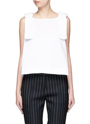 Victoria Beckham Bow Shoulder Jersey Tank Top White