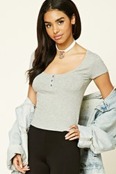 Forever 21 Ribbed Knit Henley Crop Top