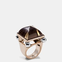 Coach Pearl Pyramid Ring Gold Grey