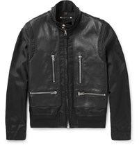 Coach Mashup Barracuda Canvas And Leather Jacket Black