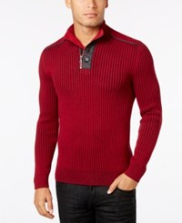 Inc International Concepts Men's Quarter Zip And Button Ribbed Sweater Only At Macy's Bright Rhubarb