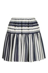 Nobody's Child Flippy Stripe Mini Skirt By Navy Blue