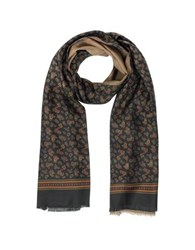Forzieri Micro Paisley Print Silk And Modal Reversible Men's Scarf Black