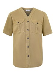Topman Khaki Denim Short Sleeve Baseball Shirt Green