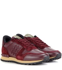 Valentino Rockrunner Suede And Leather Sneakers Red