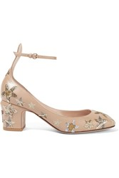 Valentino Tango Embellished Leather Pumps Beige